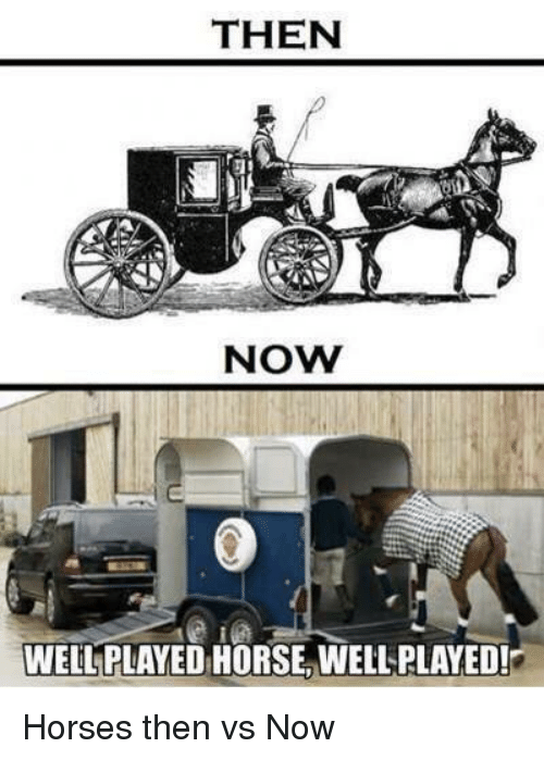 Horses, Horse, and Now: THEN  NOW  WELL PLAYED HORSE WELL PLAYED! Horses then vs Now