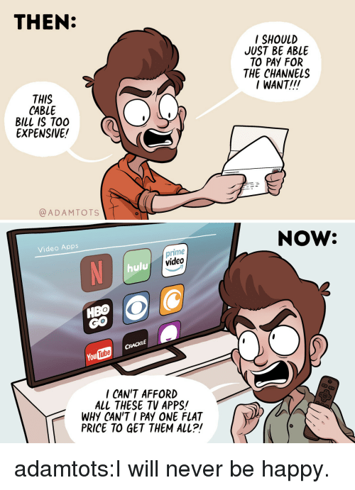 Hulu, Target, and Tumblr: THEN:  SHOULD  JUST BE ABLE  TO PAY FOR  THE CHANNELS  / WANT!!  THIS  CABLE  BILL IS TO0  EXPENSIVE!  @ADAMTOTS  NOW:  Video Apps  prime  video  ON  hulu  Tube  ou  I CAN'T AFFORD  ALL THESE TV APPS!  WHY CAN'T I PAY ONE FLAT  PRICE TO GET THEM ALL?! adamtots:I will never be happy.