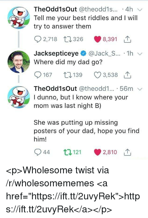 """Dad, Best, and Wholesome: TheOdd1sOut @theodd1s... .4h  Tell me your best riddles and I will  try to answer them  2,718 t26 8,391  JacksepticeyeJack_S... 1h  Where did my dad go?  167 19  3,538 1  TheOdd1sOut @theodd1... 56m  I dunno, but I know where your  mom was last night B)  She was putting up missing  posters of your dad, hope you find  him!  944 t121  2,810 1 <p>Wholesome twist via /r/wholesomememes <a href=""""https://ift.tt/2uvyRek"""">https://ift.tt/2uvyRek</a></p>"""