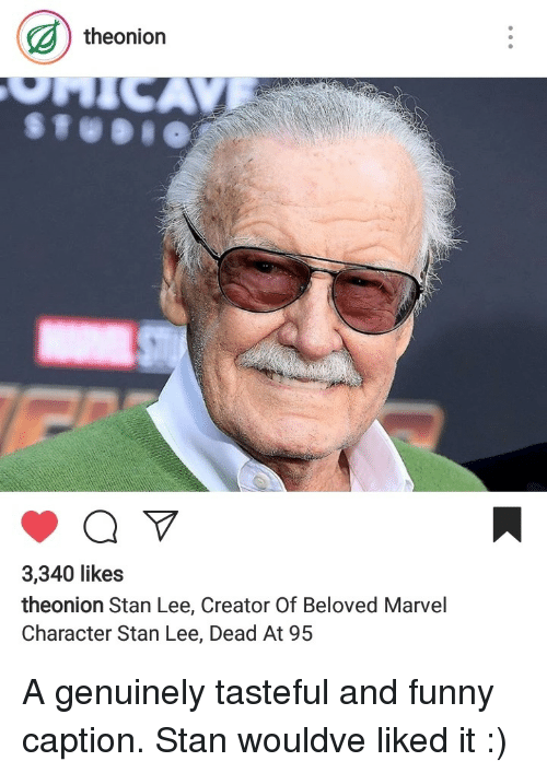 Funny, Stan, and Stan Lee: theonion  3,340 likes  theonion Stan Lee, Creator Of Beloved Marvel  Character Stan Lee, Dead At 9.5 A genuinely tasteful and funny caption. Stan wouldve liked it :)