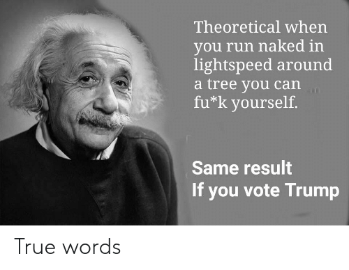 Vote Trump: Theoretical when  you run naked in  lightspeed around  a tree you can  fu k yourself.  Same result  If you vote Trump True words