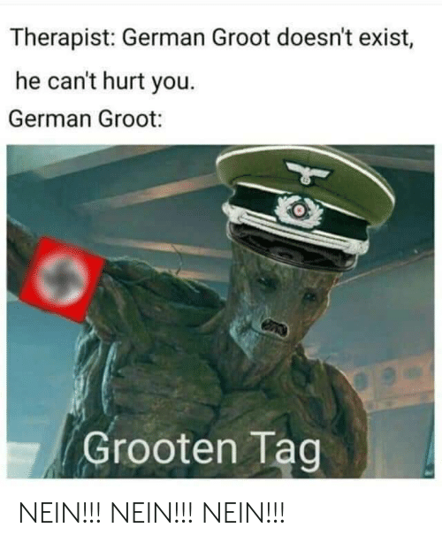 German, You, and Groot: Therapist: German Groot doesn't exist,  he can't hurt you.  German Groot:  Grooten Tag NEIN!!! NEIN!!! NEIN!!!