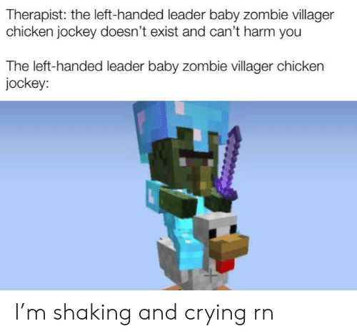 Crying, Chicken, and Zombie: Therapist: the left-handed leader baby zombie villager  chicken jockey doesn't exist and can't harm you  The left-handed leader baby zombie villager chicken  jockey: I'm shaking and crying rn