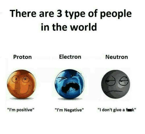"Type Of People: There are 3 type of people  in the world  Electron  Neutron  Proton  ""I'm positive""  ""I don't give a k""  ""I'm Negative"""