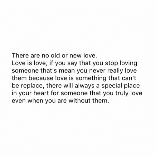 Thats Mean: There are no old or new love.  Love is love, if you say that you stop loving  someone that's mean you never really love  them because love is something that can't  be replace, there will always a special place  in your heart for someone that you truly love  even when you are without them