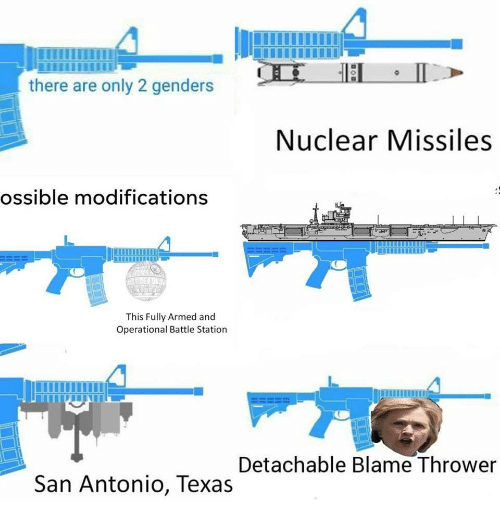 Only 2 Genders: there are only 2 genders  Nuclear Missiles  ossible modifications  This Fully Armed and  Operational Battle Station  Detachable Blame Thrower  San Antonio, Texas