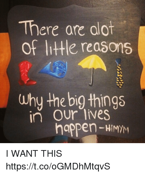 Ooting: There are oot  of little, rea6ons  Why the big things  in our lives  happen HIMYM I WANT THIS https://t.co/oGMDhMtqvS