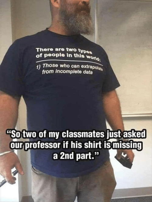 """Types Of: There are two types  of people in this world  1) Those who can extrapolate  from incomplete data  """"So two of my classmates just asked  our professor if his shirt is missing  a 2nd part.""""  95"""