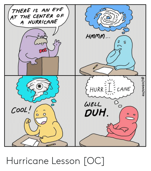 Cool, Hurricane, and Eve: THERE Is AN EVE  AT THE CENTER OF  A HURR/CANE  HURRELF CANE  WELL  DUH.  CooL / Hurricane Lesson [OC]