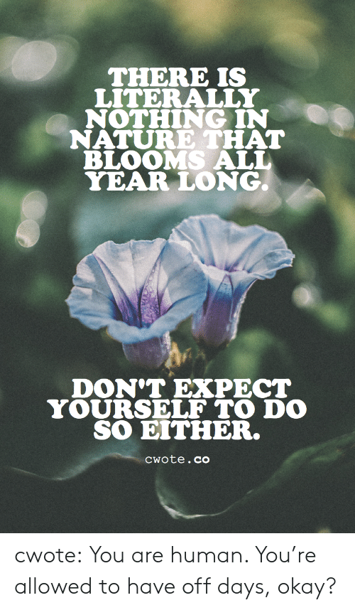 Target, Tumblr, and Blog: THERE IS  LITERALLY  NOTHING IN  NATURE THAT  BLOOMS ALL  YEAR LONG.  DON'T EXPECT  YOURSELF TO DO  SO EITHER.  Cwote.co cwote: You are human. You're allowed to have off days, okay?