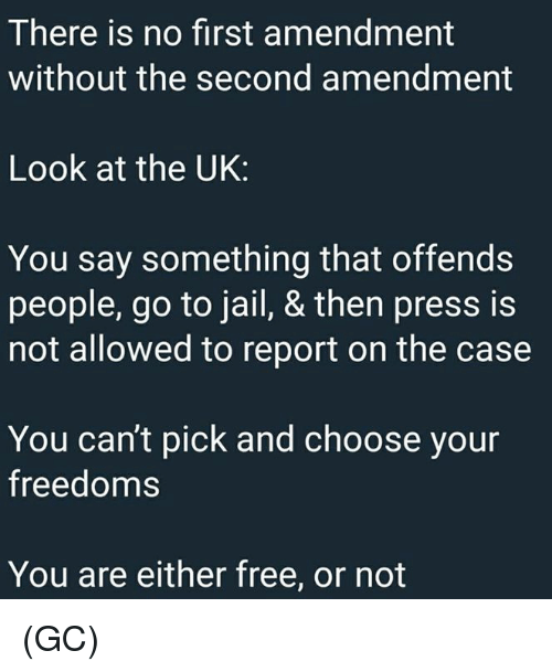 Jail, Memes, and First Amendment: There is no first amendment  without the second amendment  Look at the UK:  You say something that offends  people, go to jail, & then press is  not allowed to report on the case  You can't pick and choose your  freedoms  You are either free, or not (GC)