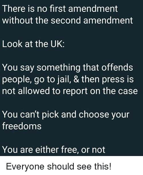 Jail, Memes, and First Amendment: There is no first amendment  without the second amendment  Look at the UK:  You say something that offends  people, go to jail, & then press is  not allowed to report on the case  You can't pick and choose your  freedoms  You are either free, or not Everyone should see this!