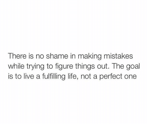 Life, Goal, and Live: There is no shame in making mistakes  while trying to tigure things out. The goal  is to live a fulfilling life, not a perfect one