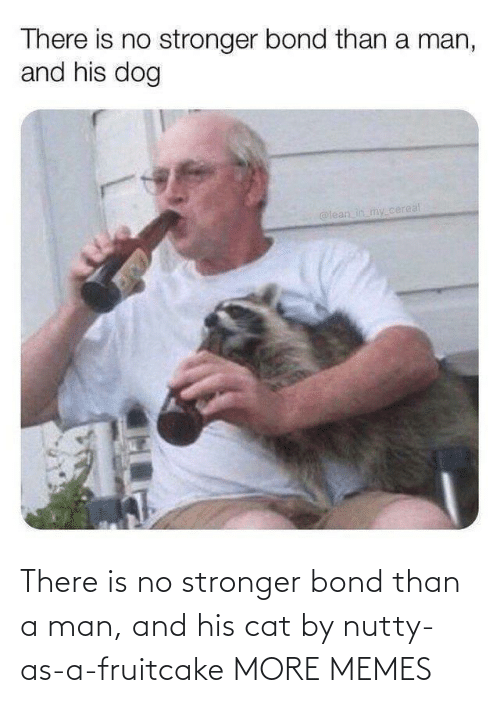there is: There is no stronger bond than a man, and his cat by nutty-as-a-fruitcake MORE MEMES