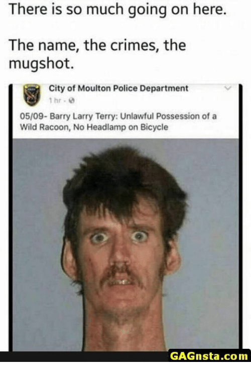 Police, Bicycle, and Wild: There is so much going on here.  The name, the crimes, the  mugshot.  City of Moulton Police Department  1hr. 8  05/09- Barry Larry Terry: Unlawful Possession of a  Wild Racoon, No Headlamp on Bicycle  GAGnsta.com