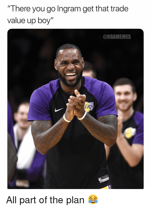 """Basketball, Nba, and Sports: There you go Ingram get that trade  value up boy""""  @NBAMEMES All part of the plan 😂"""