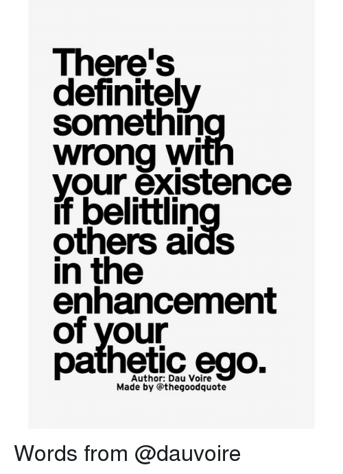 Definitally: There's  definitely  somethin  wrong wi  your existence  if belittin  others aids  in the  enhancement  of your  pathetic ego.  Made by Othegoodquote Words from @dauvoire