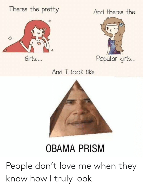 I Look Like: Theres the pretty  And theres the  Girls....  Popular girls...  And I look like  OBAMA PRISM People don't love me when they know how I truly look