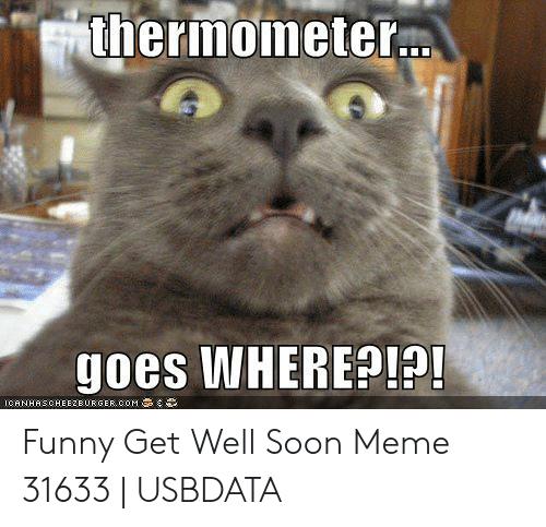 Thermometer Goes WHERE? ICANHASCHEEZEURGERCOM Funny Get Well
