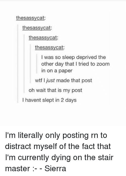 zoom ins: thesassycat  thesassycat:  thesassycat  thesassycat:  I was so sleep deprived the  other day that I tried to zoom  in on a paper  wtf I just made that post  oh wait that is my post  I havent slept in 2 days I'm literally only posting rn to distract myself of the fact that I'm currently dying on the stair master :- - Sierra