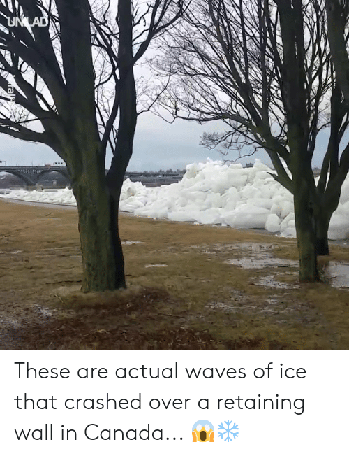 Dank, Waves, and Canada: These are actual waves of ice that crashed over a retaining wall in Canada... 😱❄️