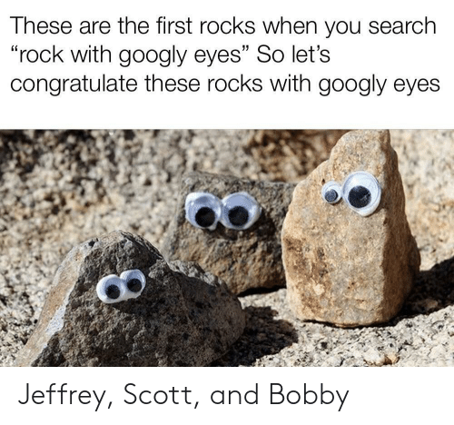 """congratulate: These are the first rocks when you search  """"rock with googly eyes"""" So let's  congratulate these rocks with googly eyes Jeffrey, Scott, and Bobby"""