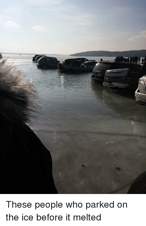 Ice, Who, and People: These people who parked on the ice before it melted