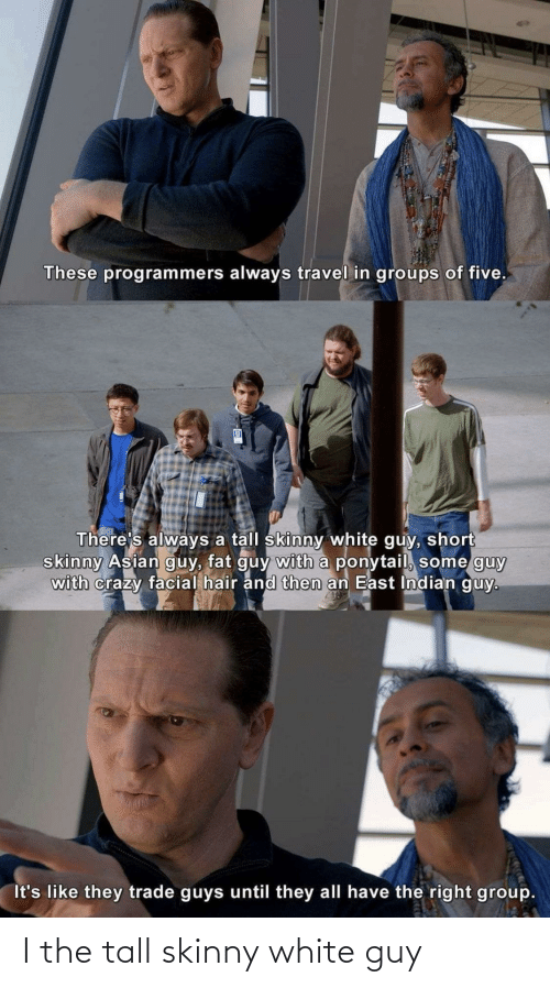 Skinny: These programmers always travel in groups of five.  There's always a tall skinny white guy, short  skinny Asian guy, fat guy with a ponytail, some guy  with crazy facial hair and then an East Indian guy.  It's like they trade guys until they all have the right group. I the tall skinny white guy