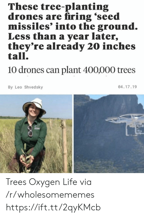 Drones: These tree-planting  drones are firing 'seed  missiles' into the ground.  Less than a year later,  they're already 20 inches  tall.  10 drones can plant 400,000 trees  04.17.19  By Leo Shvedsky Trees Oxygen Life via /r/wholesomememes https://ift.tt/2qyKMcb