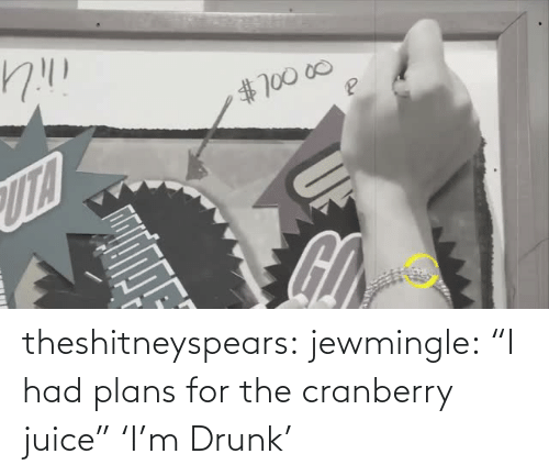 "Juice: theshitneyspears:  jewmingle:  ""I had plans for the cranberry juice""  'I'm Drunk'"