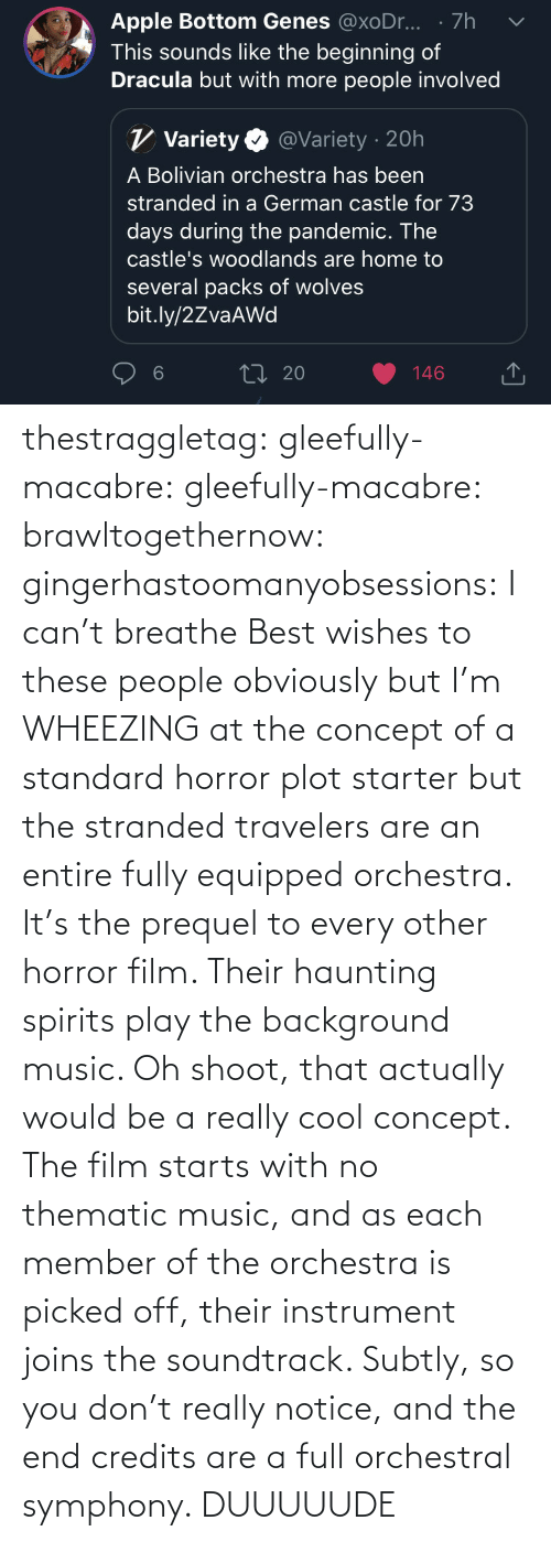 Off: thestraggletag:  gleefully-macabre:  gleefully-macabre:   brawltogethernow:  gingerhastoomanyobsessions: I can't breathe Best wishes to these people obviously but I'm WHEEZING at the concept of a standard horror plot starter but the stranded travelers are an entire fully equipped orchestra.    It's the prequel to every other horror film. Their haunting spirits play the background music.     Oh shoot, that actually would be a really cool concept. The film starts with no thematic music, and as each member of the orchestra is picked off, their instrument joins the soundtrack. Subtly, so you don't really notice, and the end credits are a full orchestral symphony.   DUUUUUDE