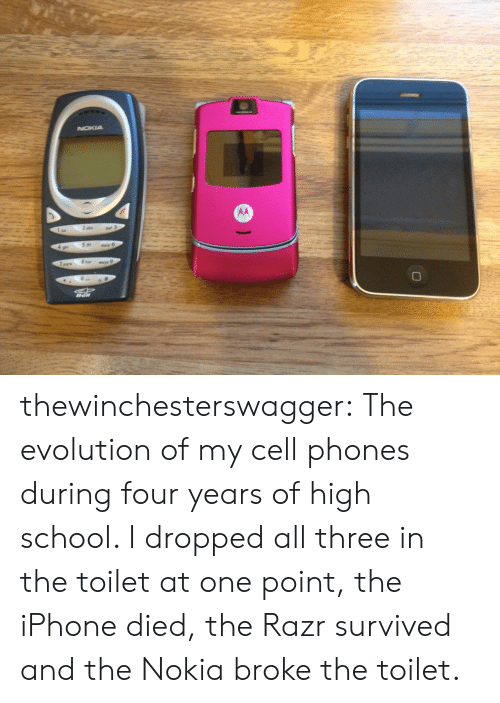 Iphone, School, and Target: thewinchesterswagger:  The evolution of my cell phones during four years of high school. I dropped all three in the toilet at one point, the iPhone died, the Razr survived and the Nokia broke the toilet.