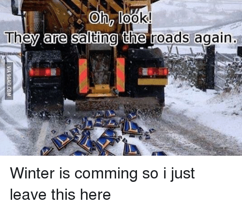 Reddit, Winter, and They: They  are  salting the roads again