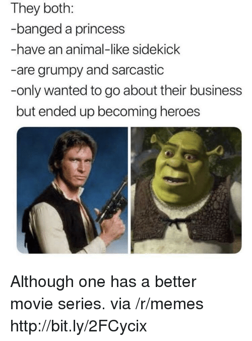 sidekick: They both:  banged a princess  -have an animal-like sidekick  -are grumpy and sarcastic  -only wanted to go about their business  but ended up becoming heroes Although one has a better movie series. via /r/memes http://bit.ly/2FCycix