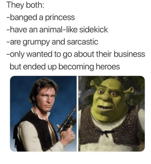 Animal, Business, and Heroes: They both:  banged a princess  -have an animal-like sidekick  -are grumpy and sarcastic  -only wanted to go about their business  but ended up becoming heroes