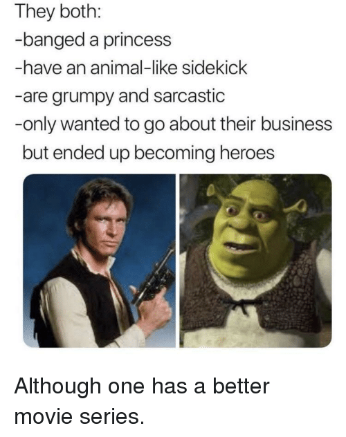 Animal, Business, and Heroes: They both:  banged a princess  -have an animal-like sidekick  -are grumpy and sarcastic  -only wanted to go about their business  but ended up becoming heroes Although one has a better movie series.