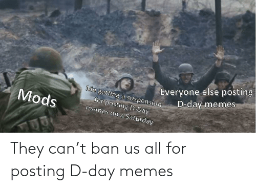 Us: They can't ban us all for posting D-day memes