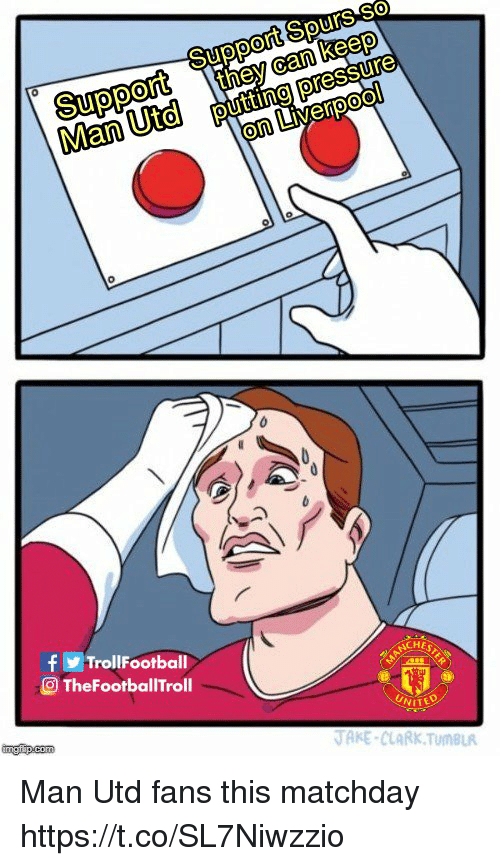 Memes, Pressure, and Tumblr: they can keep  putting pressure  Man Utd  0  0  fTrollFootball  TheFootballTroll  ACHE  NITE  AKE-CLARK TumBLR Man Utd fans this matchday https://t.co/SL7Niwzzio