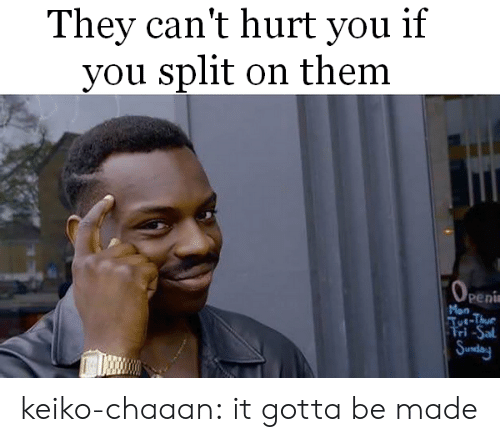 Tumblr, Blog, and Penis: They can't hurt you if  you split on them  Peni  Mon  Tut-Thue  Fri -Sal keiko-chaaan:  it gotta be made