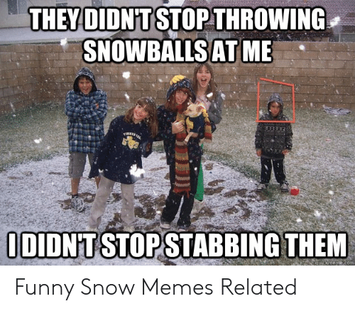 Funny, Memes, and Snow: THEY DIDN'T STOP THROWING  SNOWBALLSAT ME  DIDN'T STOPSTABBING THEM  com Funny Snow Memes Related