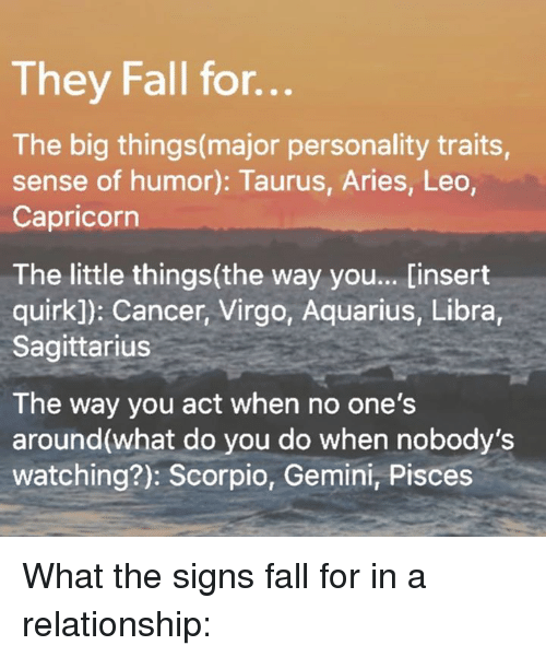 They Fall for He Big Thingsmajor Personality Traits Sense of