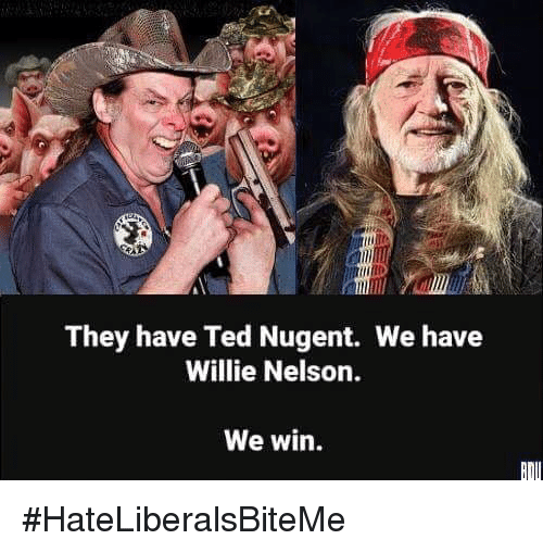 Ted, Willie Nelson, and Ted Nugent: They have Ted Nugent. We have  Willie Nelson.  We win. #HateLiberalsBiteMe