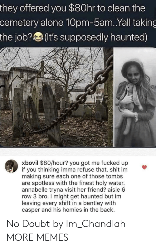 the job: they offered you $80hr to clean the  cemetery alone 10pm-5am..Yall taking  the job? (t's supposedly haunted)  xbovil $80/hour? you got me fucked up  if you thinking imma refuse that. shit im  making sure each one of those tombs  are spotless with the finest holy water.  annabelle tryna visit her friend? aisle 6  row 3 bro. i might get haunted but im  leaving every shift in a bentley with  casper and his homies in the back. No Doubt by Im_Chandlah MORE MEMES