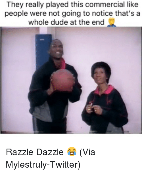 Basketball, Dude, and Nba: They really played this commercial like  people were not going to notice that's a  whole dude at the end Razzle Dazzle 😂 (Via Mylestruly-Twitter)