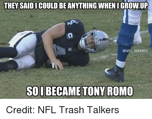 Memes, Nfl, and Tony Romo: THEY SAID I COULD BE ANYTHING WHEN I GROW UP  @NFL MEMES  SOIBECAME TONY ROMO Credit: NFL Trash Talkers