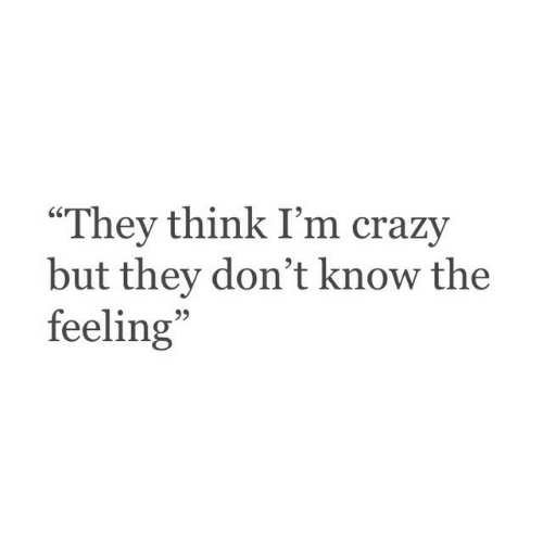 """Crazy, Think, and They: """"They think I'm crazy  but they don't know the  feeling  95"""