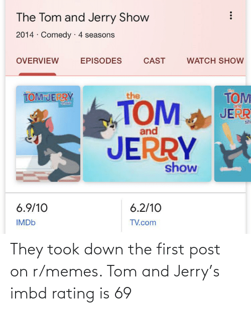 R Memes: They took down the first post on r/memes. Tom and Jerry's imbd rating is 69
