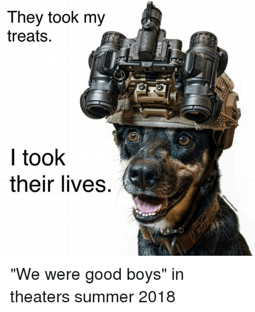 """Memes, Summer, and Good: They took my  treats.  l took  their lives """"We were good boys"""" in theaters summer 2018"""