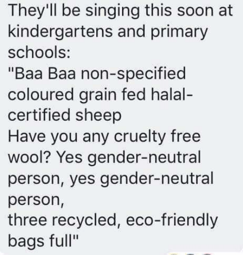 """eco: They'll be singing this soon at  kindergartens and primary  schools:  """"Baa Baa non-specified  coloured grain fed halal-  certified sheep  Have you any cruelty free  wool? Yes gender-neutral  person, yes gender-neutral  person,  three recycled, eco-friendly  bags full"""""""