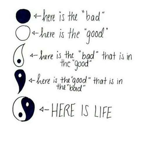"Bad, Life, and Good: thi ""bad  ←here is  -hire is the qood  4-ere is tht ""bad"" that is in  the ""Qpod  4-here is tha good"" that is in  the boud  HERE IS LIFE"
